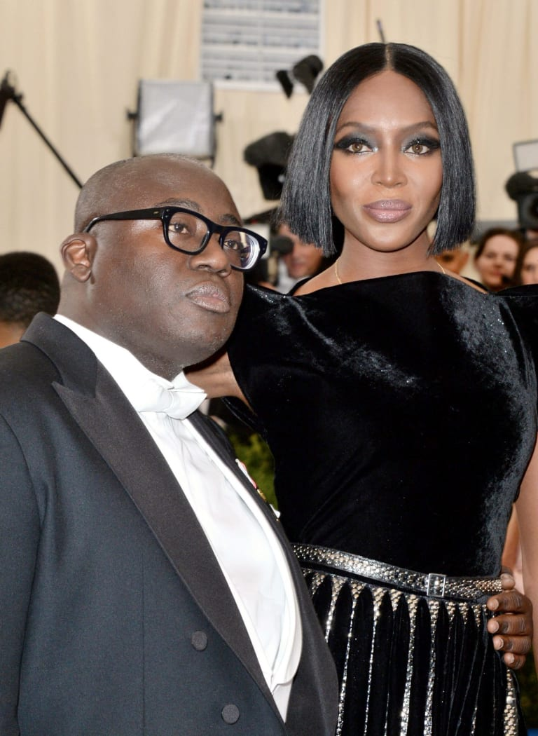 British Vogue editor Edward Enninful with Naomi Campbell.