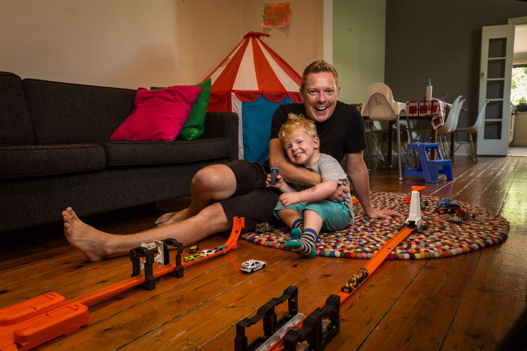 Stay at home dad Nick Breckon is relishing his time at home with son Max, 2.