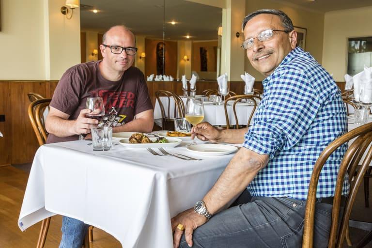 Founder of Marketing4Restaurants James Eling with restaurateur  Devendra Singh.