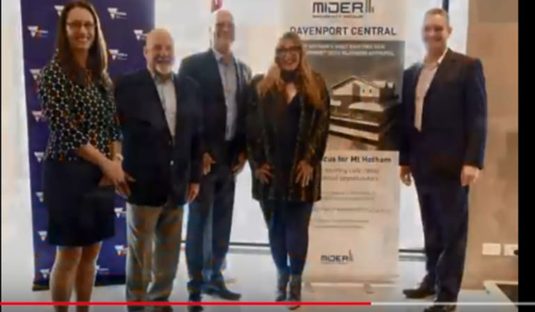 Peter Malone (second from left), MP Danielle Green (second from right) and Anton Wilson (far right) at the Davenport Central launch.