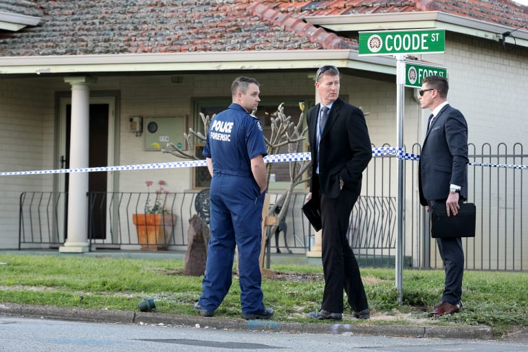 Police are seen outside a property in Coode Street in the Perth suburb of Bedford.