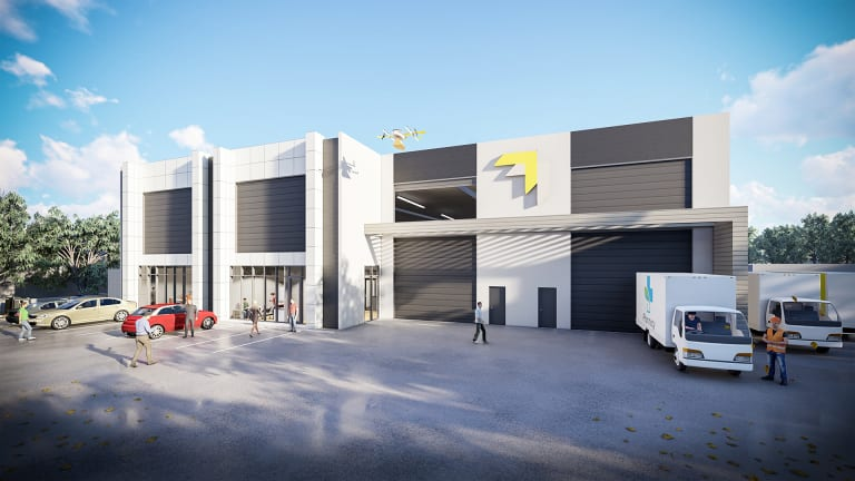 Artist impression of drone delivery company Wing's proposed Mitchell headquarters