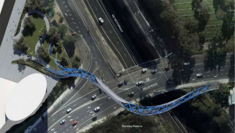 An artist's impression of the Lachlan's Line pedestrian bridge across Delhi Road and the M2 motorway.