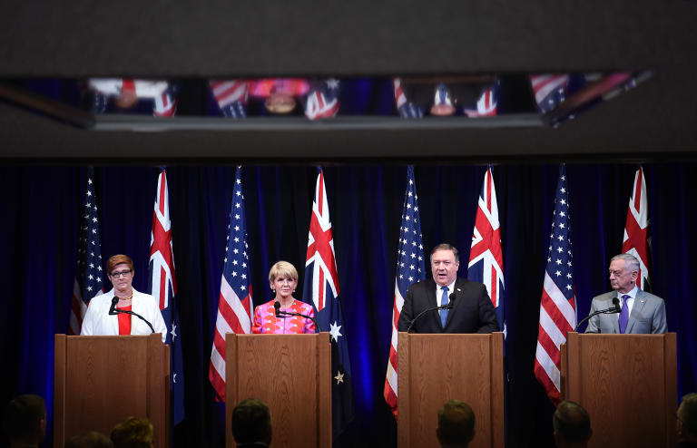 Julie Bishop, second left, and James Mattis, far right, with Marise Payne and Mike Pompeo at the Australia-US Ministerial meeting in California in July.