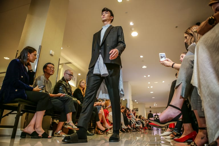 A model wears a design by MNDATORY at the National Designer Award at David Jones on Thursday.