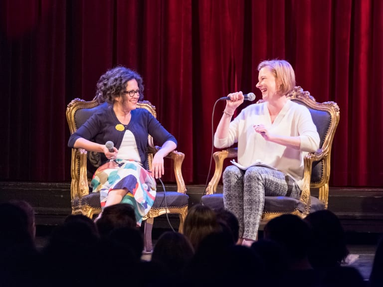 Annabel Crabb (left) and Leigh Sales on stage having a chat at the Australian National University in Canberra.