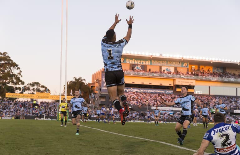 High-flier: Valentine Holmes takes control of a bomb on Sunday.