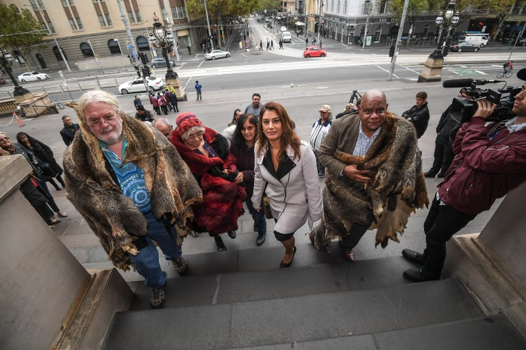 Greens MP Lidia Thorpe with Aboriginal clan elders on the steps of Parliament in May.