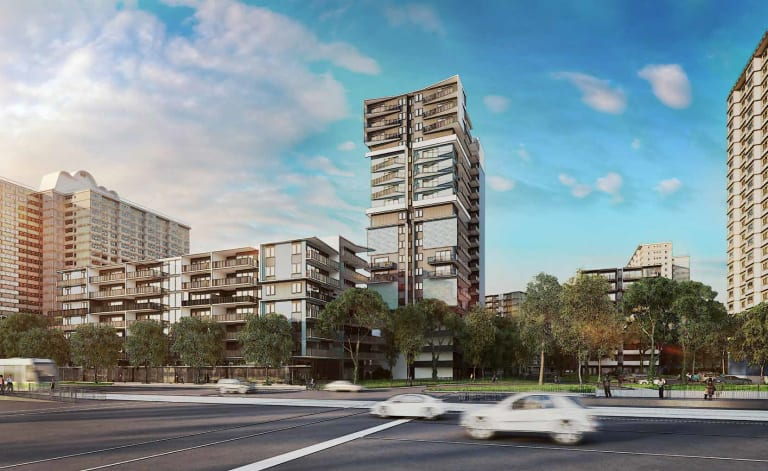 An artist's impression of apartments to be built on the Flemington public housing estate - where 825 new private units will be created on what is now public land.