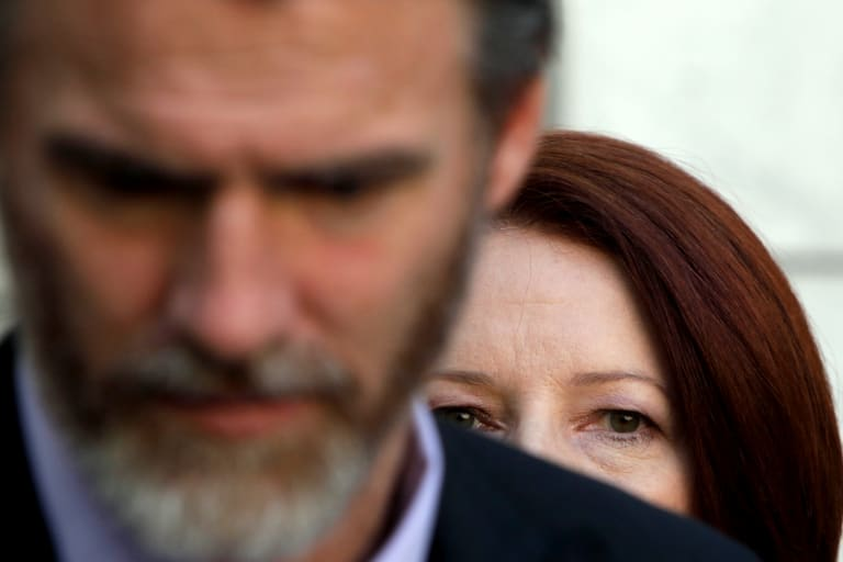 Former prime minister Julia Gillard with independent Rob Oakeshott.