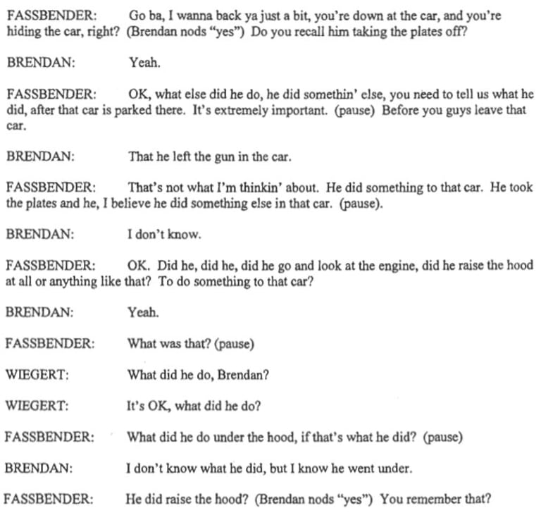 An excerpt from the Brendan Dassey transcript Dr Keatley applied his technique to.