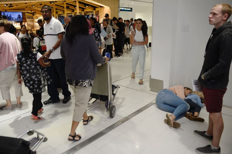 Passengers at the international terminal began to go through border security about 6.45am.