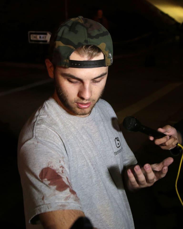 Matt Wennerstrom talks to reporters outside the Borderline Bar & Grill in Thousand Oaks, California.