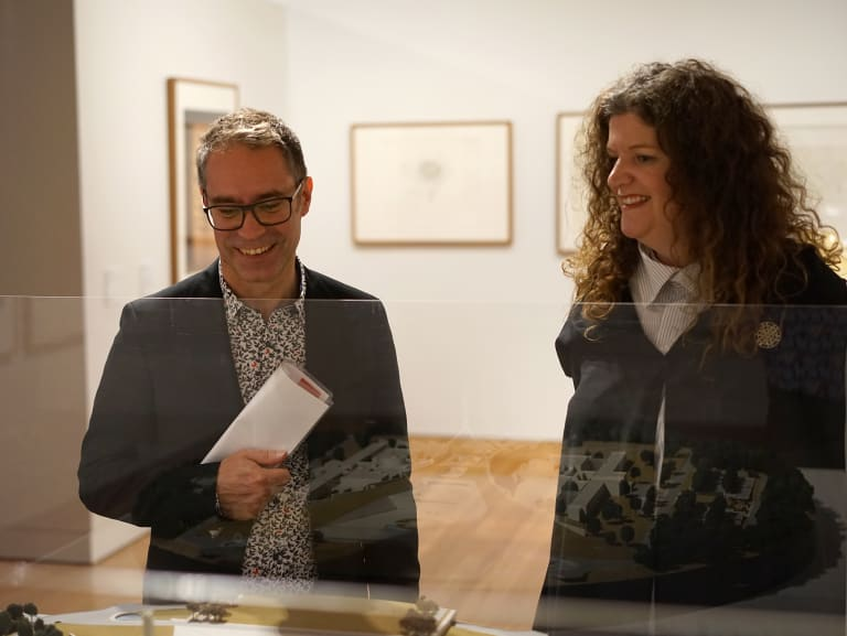 Director of Canberra Museum and Gallery (left) Shane Breynard and director of the Parliament House art collection Justine Van Mourik at a new exhibition of works from Parliament House.