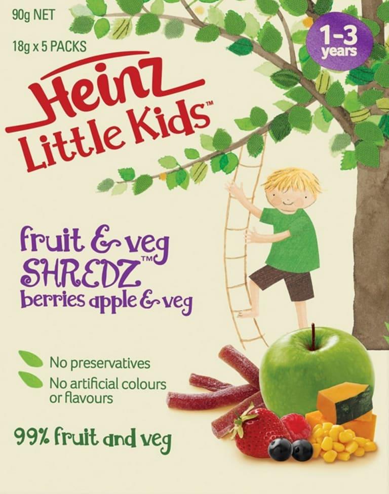 Looking healthy: A box of Heinz Little Kids Fruit and Veg Shredz