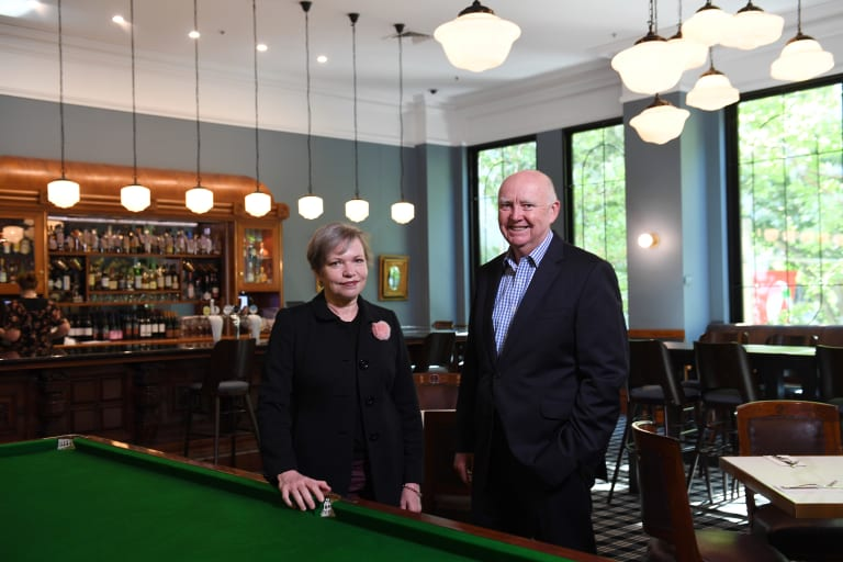 """Colin Dunn, the chairman of Sydney's Tattersalls Club, pictured with committee member Bettina Pidcock, said the club had """"benefited enormously"""" after voting to diversify its membership."""