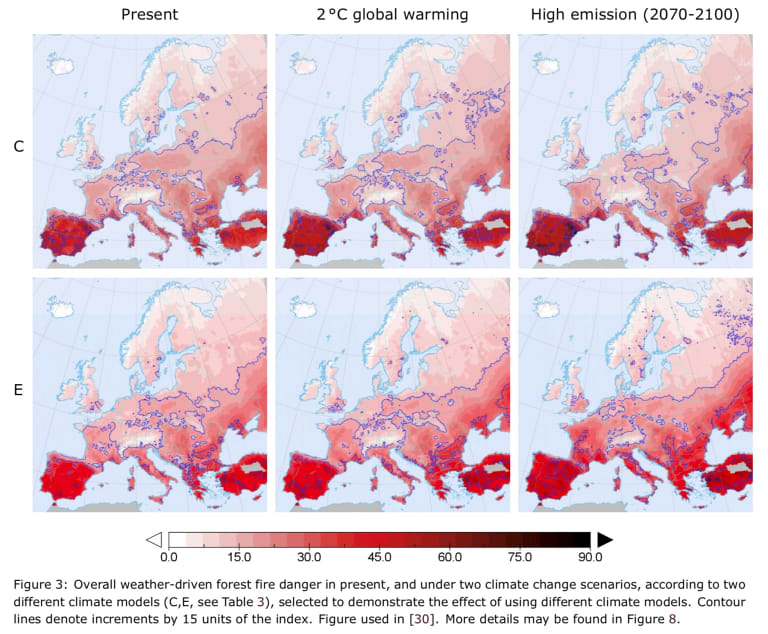 Weather-driven forest fire danger  in different climate scenarios for Europe.