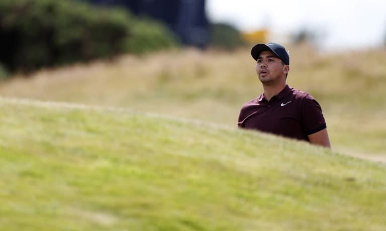 Trust your swing: Jason Day struggles to follow his shot during a practice round at Carnoustie.