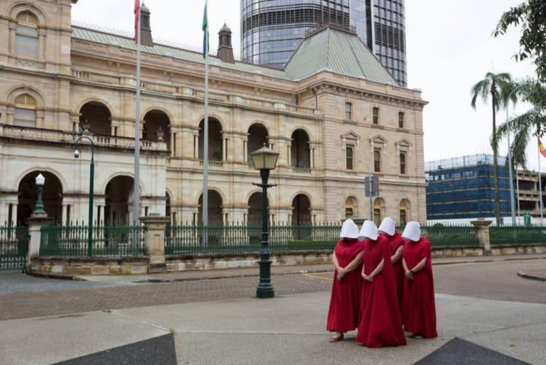 Women wear Handmaid's Tale costumes in Brisbane on November 19, 2017.
