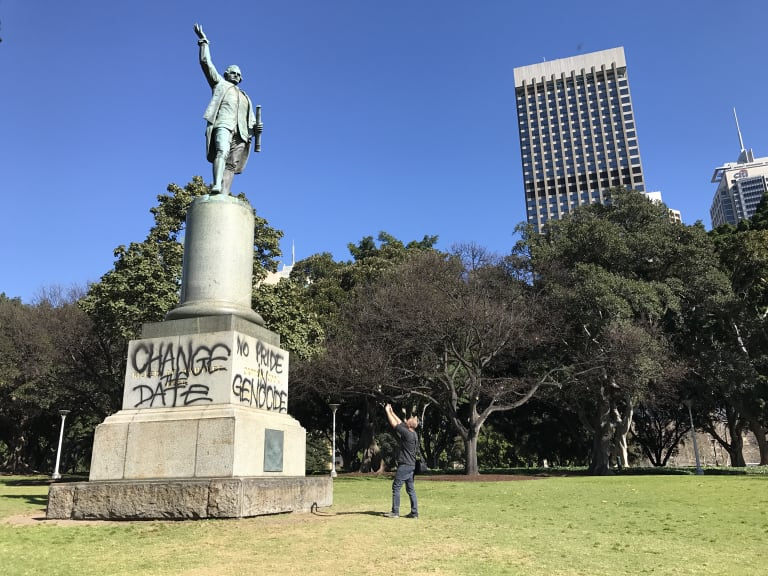 Statues of Captain Cook, including this one in Sydney's Hyde Park, were targeted by protesters.