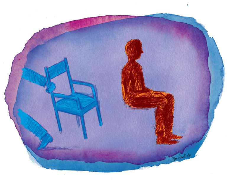 'Without death's shadow ... the chair would not be in the house.' <i>Illustration: Jim Pavlidis</i>