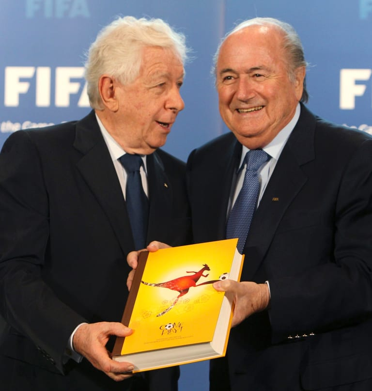 Optimist: Frank Lowy with FIFA boss Sepp Blatter.