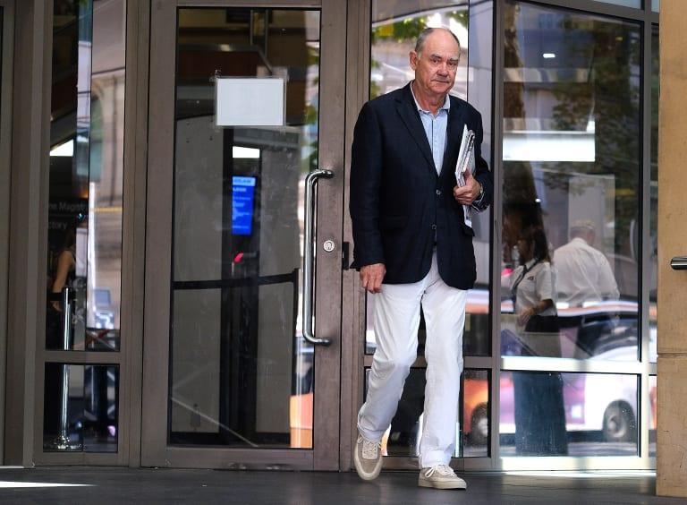 Radio presenter John Burns outside court on Thursday.