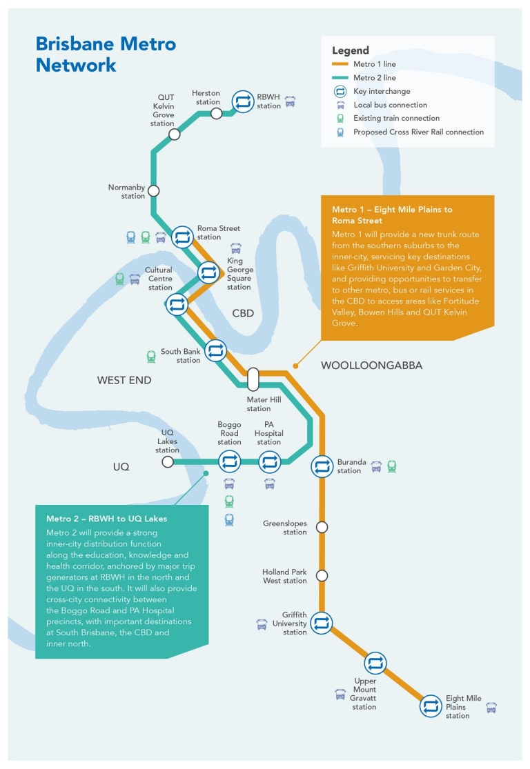 Brisbane Metro route map.