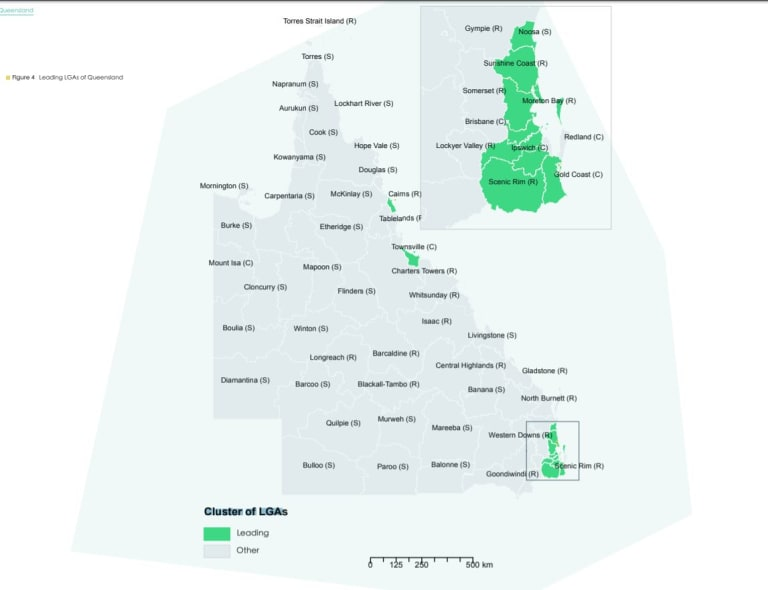 Performance of local government areas, with the ten leading areas shown in green.