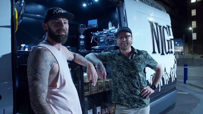 Shane Leighton (left) and Steve Taylor (right) currently drive a coffee van each on two different city routes.