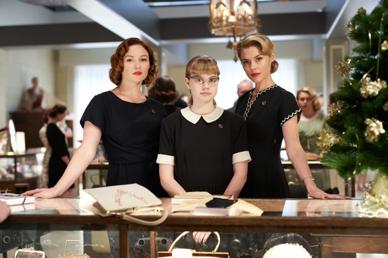 Alison McGirr as Patty Williams, Angourie Rice as Lisa Miles and Rachael Taylor as Fay Baines, in a scene from Ladies In Black.