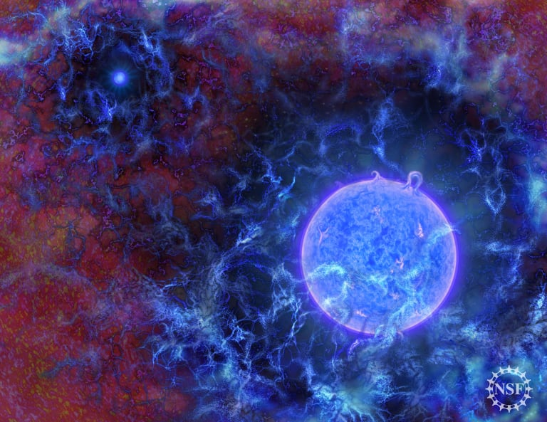 An artist's rendering of how the first stars in the universe may have looked.
