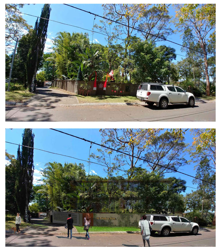 The existing site of a proposed 103-room boarding house in Frenchs Forest and an artist's impression of the development.