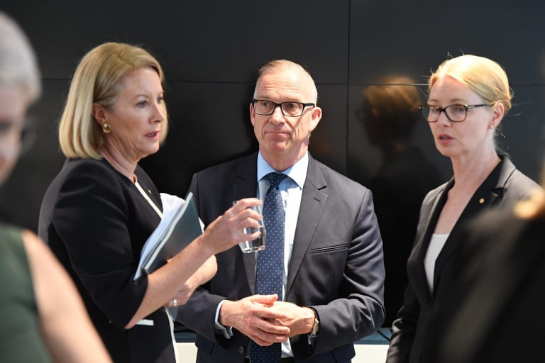 Former sex discrimination commissioner Elizabeth Broderick, University of Sydney Vice Chancellor, Michael Spence and the head of the Women's College, Amanda Bell.