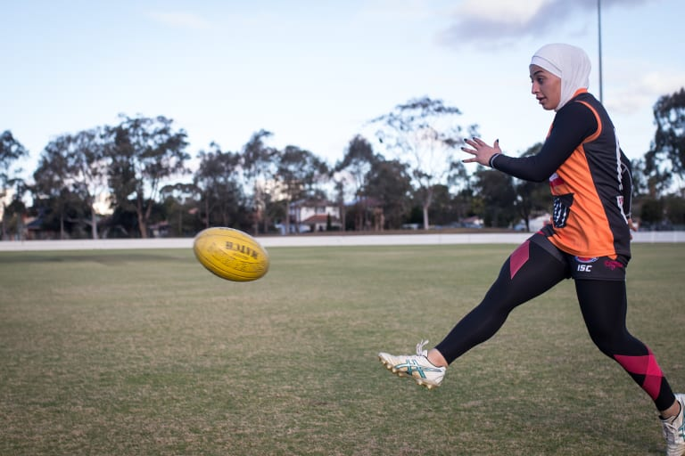 Auburn Giants AFL player Liali Karra-Hassan at Mona Park, Auburn last week.