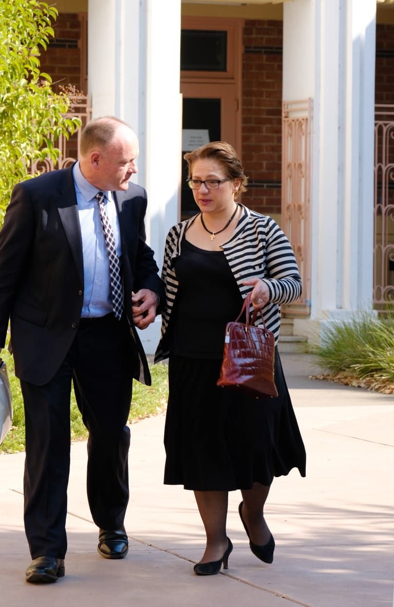 Former Liberal frontbencher Sophie Mirabella leaves the Wangaratta Magistrates Court with her husband.