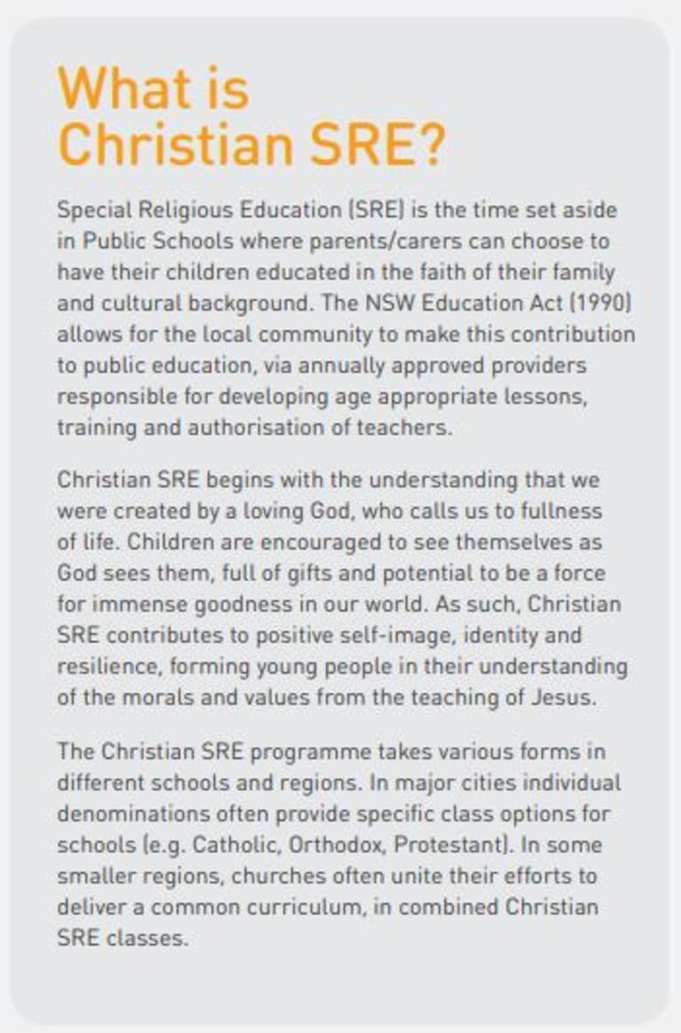 Part of the Christian SRE pamphlet handed out at NSW public schools.