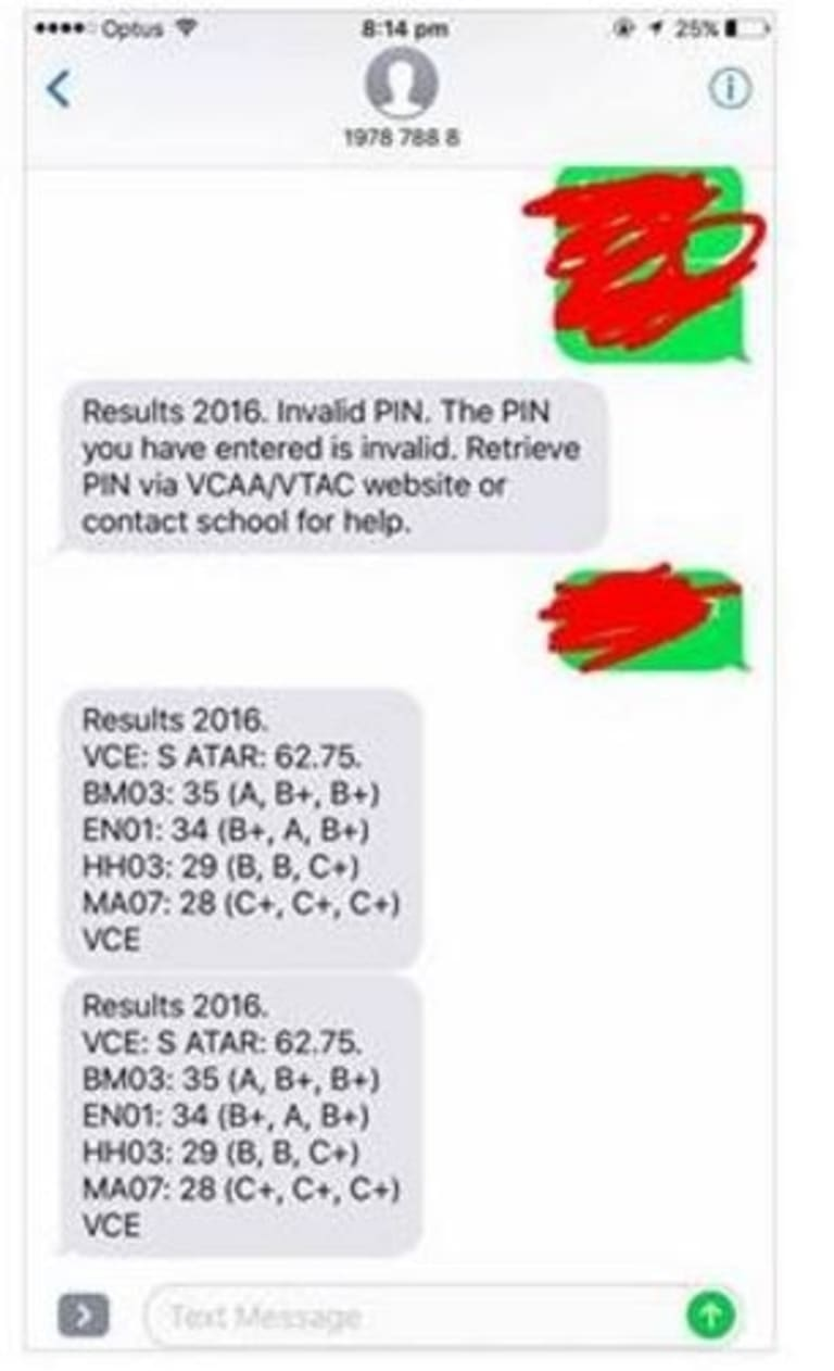 Screen grab of a reported VCAA text received by a year 12 student
