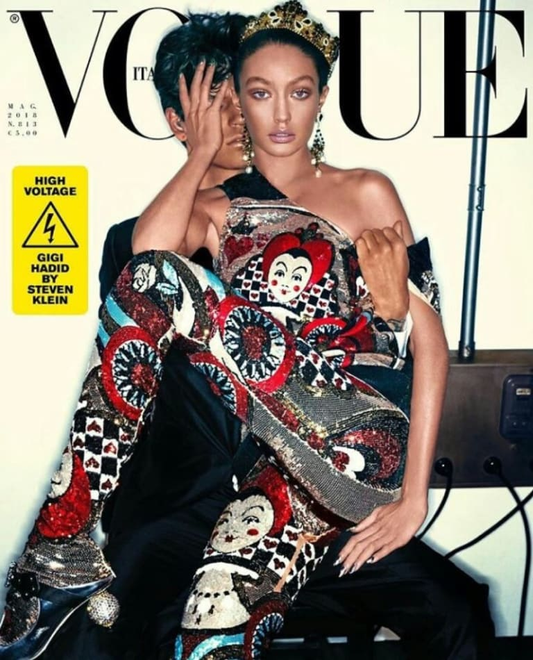Gigi Hadid on the cover of Vogue Italia.