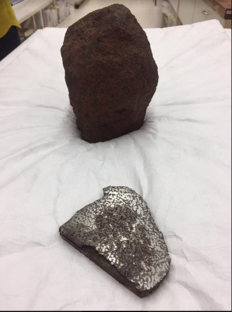 One section of the Georgetown meteorite has been sawed through to show nickel-iron encased in broze coloured iron sulphide.