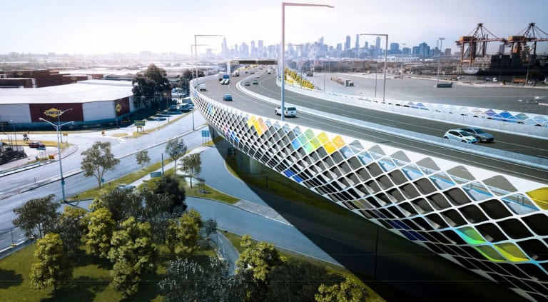 An artist's impression of the Footscray Road elevated freeway section of the West Gate Tunnel project.