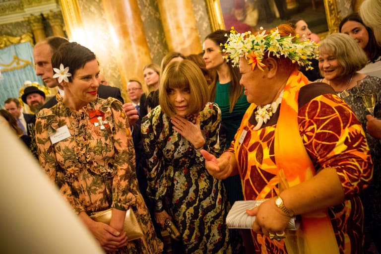 Designer Karen Walker (left) with 'Vogue' editor-in-chief Anna Wintour and Cook Islands artisan Tukua Turia at the EcoAge Commonwealth Fashion Exchange at Buckingham Palace last Monday.