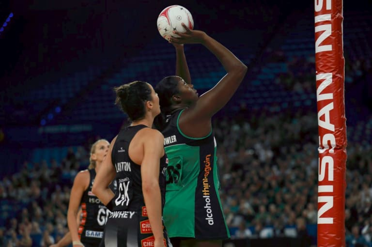 West Coast Fever recruit Jhaniele Fowler dominated the goal circle during the meeting against the Magpies.