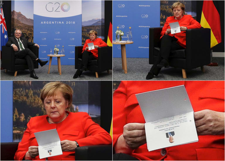 German Chancellor Angela Merkel checking her notes during a bilateral meeting with Prime Minister Scott Morrison at the G20 summit.