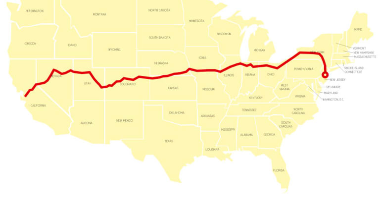 The author's route by rail across the United States.