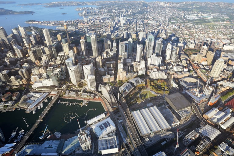 Artist impression of how the W Hotel will fit between two roads in the Darling Harbour landscape.