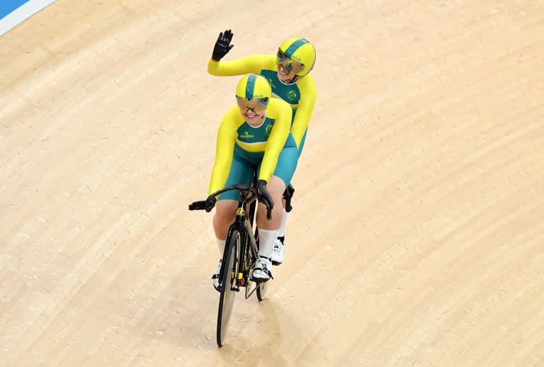 Australian cyclists Jessica Gallagher (rear) and Madison Jansenn ride to qualify in the women's B&VI sprint event on day one of the track cycling competition at the XXI Commonwealth Games at the Anna Meares Velodrome in Brisbane, Australia, Thursday, April 5, 2018.