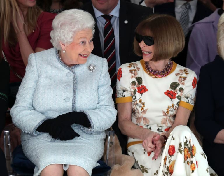 Famous front row ... Queen Elizabeth II sits next to fashion editor Anna Wintour at London Fashion Week last month.