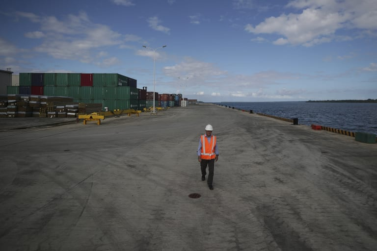 Phillip Ryan, the chief executive officer of Northern Island stevedoring company, at the new wharf in Luganville .