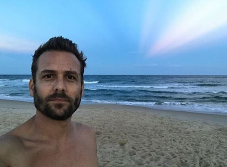 Gabriel Macht on a beach in Queensland this week.